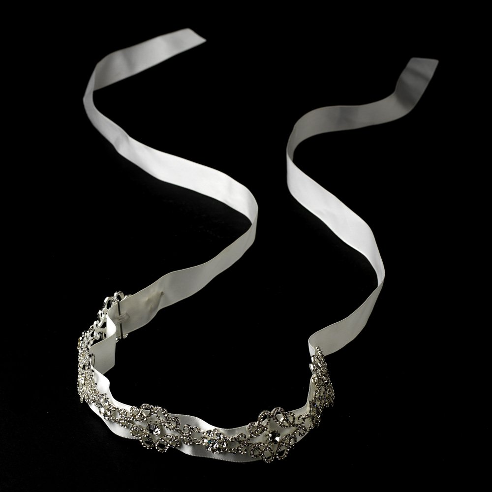 Austrian Crystal White Ribbon Headband Tiara