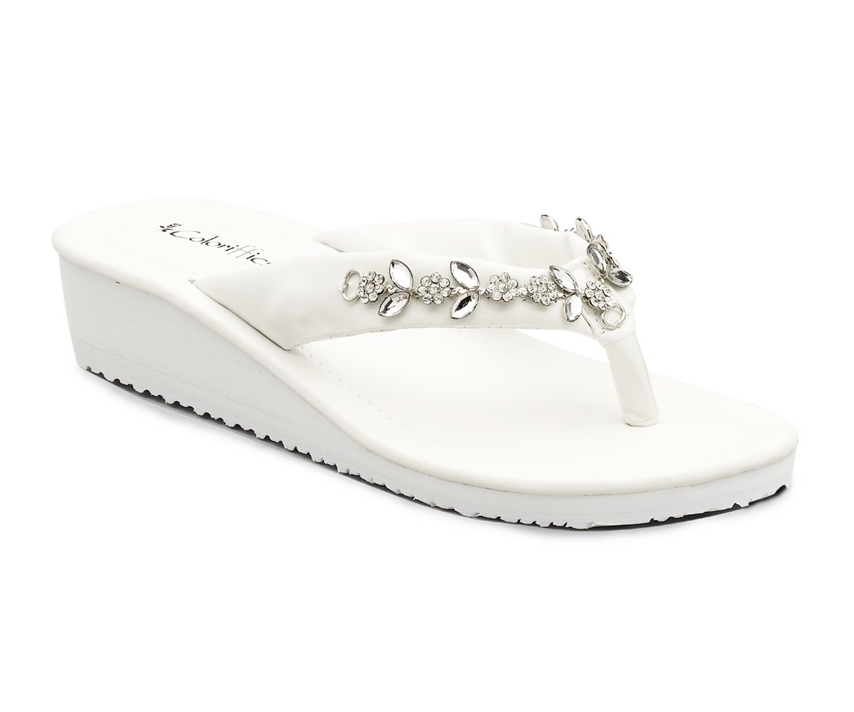 White Rhinestones Flip Flop Wedge Heel Shoe