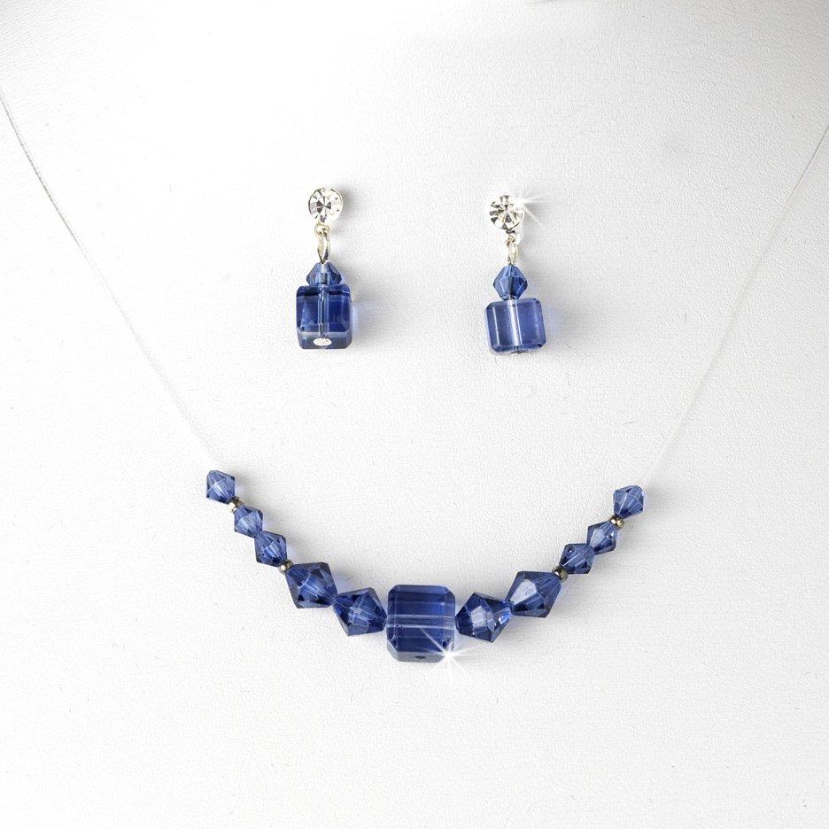Navy Swarovski Crystal String Necklace Earring Set