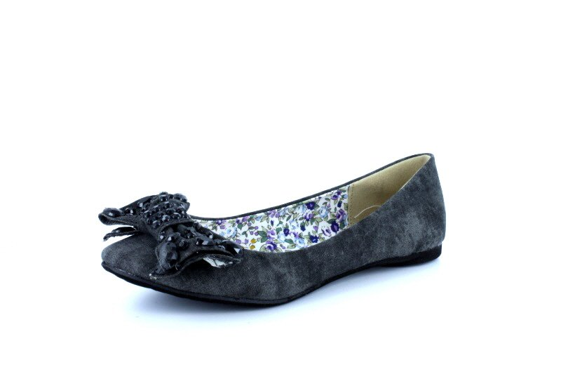 Black Studded Bow Canvas Flats Womens Shoes