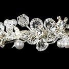 Silver Cube Swarovski Crystal Pearl Bridal Tiara