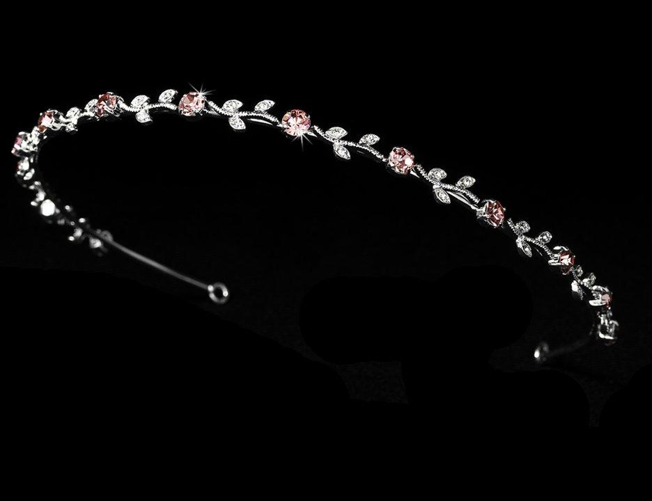 Silver Pink Clear Rhinestone Floral Vine Bridal Tiara