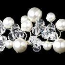 Silver Swarovski Crystal White Pearl Bridal Tiara