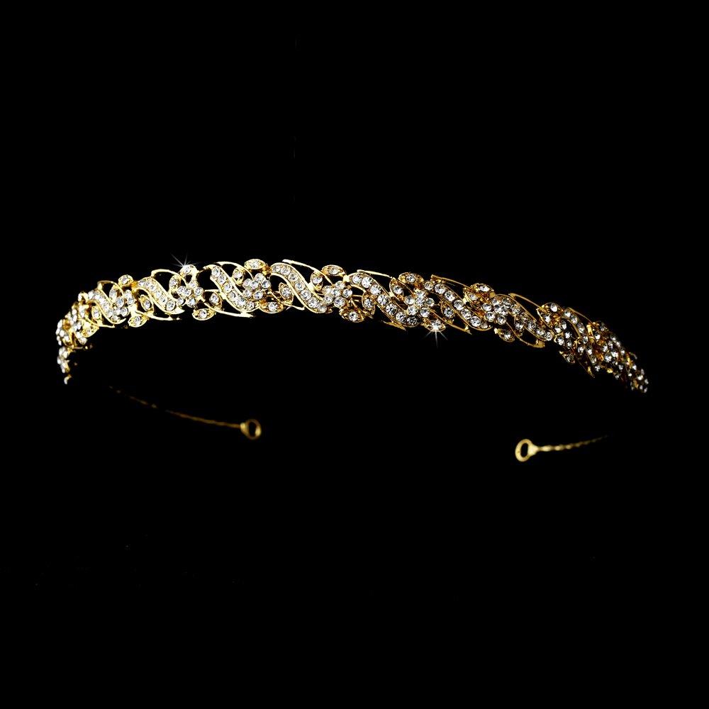 Gold Rhinestone Crystal Swirl Floral Bridal Tiara