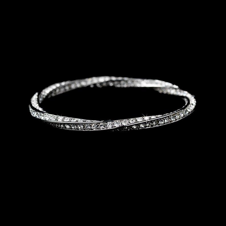 Silver Elegant Rhinestone Crystal Bangle Bracelet