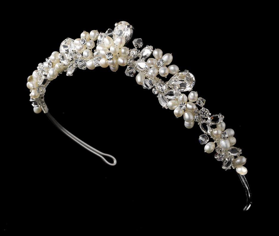 Silver Freshwater Pearl Swarovski Crystal Bridal Tiara