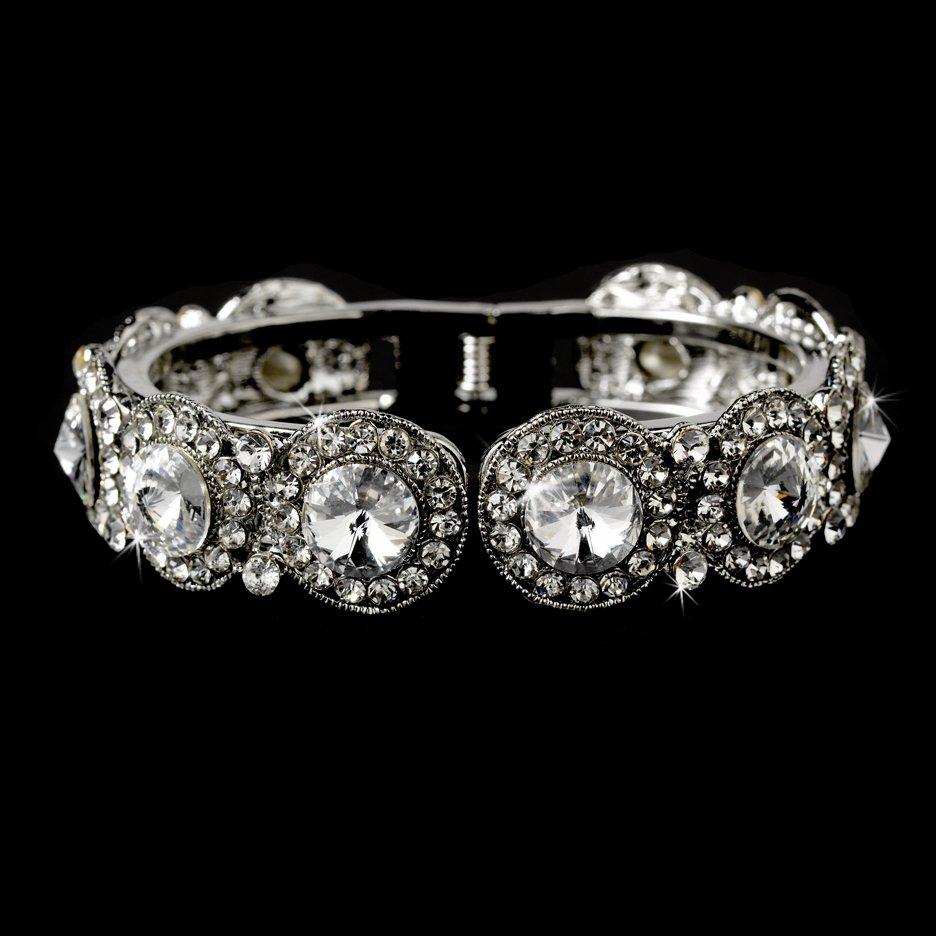 Silver Round Rhinestone Crystal Bridal Cuff Bracelet