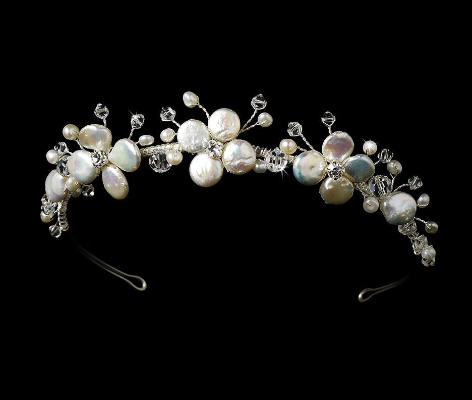 Silver Swarovski Crystal Freshwater Pearl Bridal Tiara