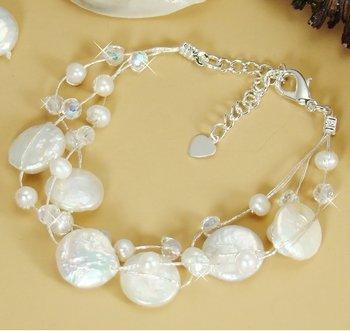 Silver Swarovski Crystal Pearl Beach Bridal Bracelet