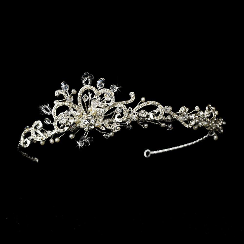 Silver Austrian Crystal Ivory Pearl Bridal Tiara