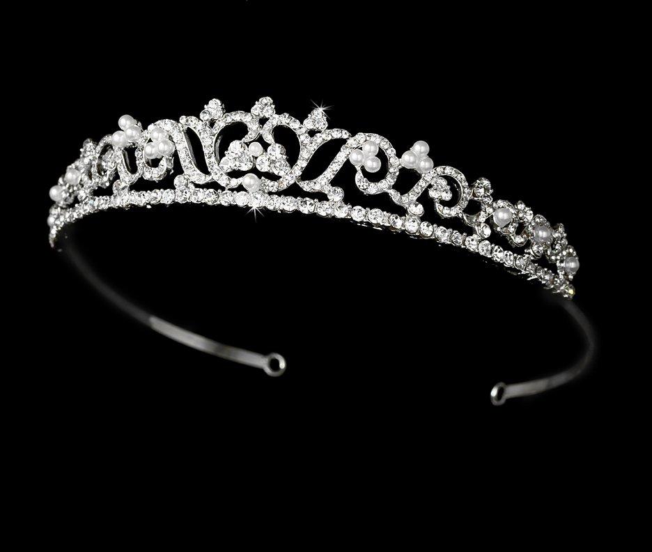 Silver Pearl Rhinestone Crystal Pearl Bridal Tiara
