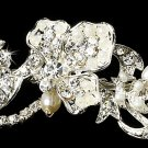 Silver Rhinestone White Pearl Elegant Tiara