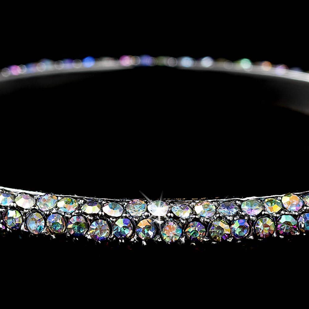 Silver AB Rhinestone Crystal Bridal Bangle Bracelet
