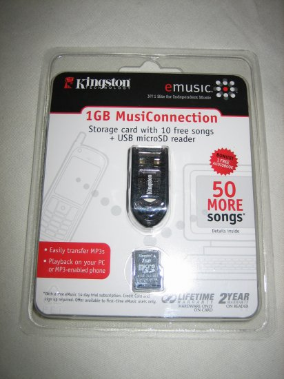 Kingston micro SD Card USB Reader and 1GB MusiConnection micro SD Card