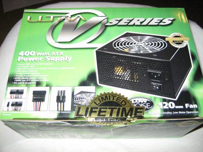 Brand New Sealed Black Ultra V Series 400 Watt ATX Power Supply Lifetime Warranty