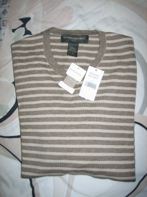 Brand New Banana Republic 100% Cotton Stripped Crewneck Long Sleeves Sweater