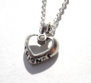 Friends Heart Shaped Pendant with Crystal Center Necklace NEW! $4