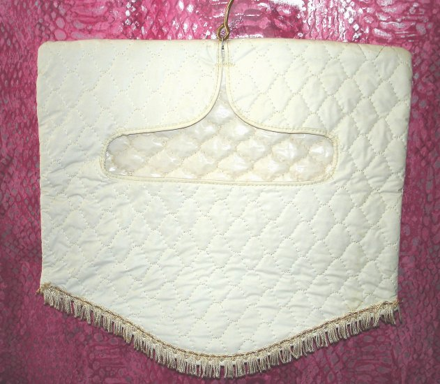 Vintage VTG White Quilted Gold Trim w/Fringe Lingerie Bag $10