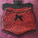 Vintage VTG Red Quilted Panty Faux Lace Lingerie Bag $15