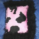 Pink Black Faux Fur Velvet Textured Journal NEW! $6
