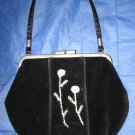 Black GYMBOREE Gothic Lolita Velvet Small Frame Purse Pink Green Embroidery $8