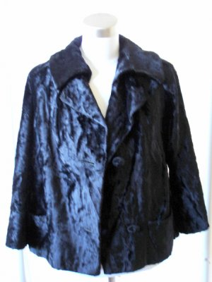 Vintage VTG Black Textured Velvet Jacket Coat L Large $25