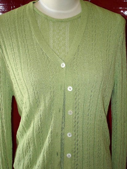 Vintage Preppy Laura Ashley Lt Green Cardigan Twinset UK Eighties 80's 1980's Medium Med Md M $18