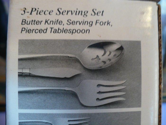 Oneida Hostess Set  Butter knife, Serving Fork & Spoon- Falkirk