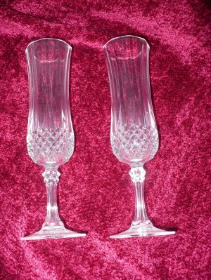2 Crystal Champagne Flutes - faceted bowls