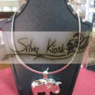 N021 Plain silver with elephant pendant