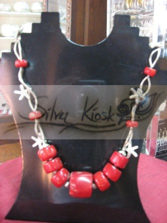 N027necklace with red stone beads&silver star fish