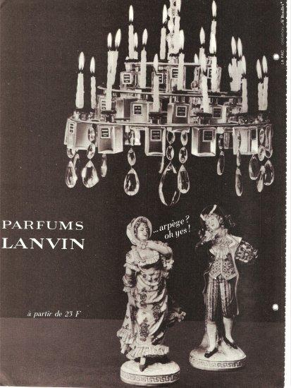 1965 PARFUMS LANVIN AD Perfume Chandelier Arpege Perfume