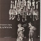 1965 PARFUMS LANVIN AD Perfume Chandelier Arpege Perfume