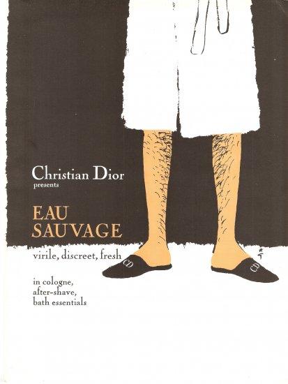 CHRISTIAN DIOR Rene Gruau AD 1969 EAU SAVAGE COLOGNE