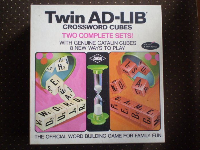1972 LOWE TWIN AD LIB CROSSWORD CUBES CATALIN BAKELITE