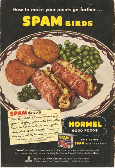1944 Vintage Ad - Hormel Spam Birds