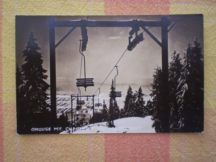 VINTAGE POSTCARD GROUSE MT CHAIRLIFT BY MOONLIGHT SKI LIFT CANADA
