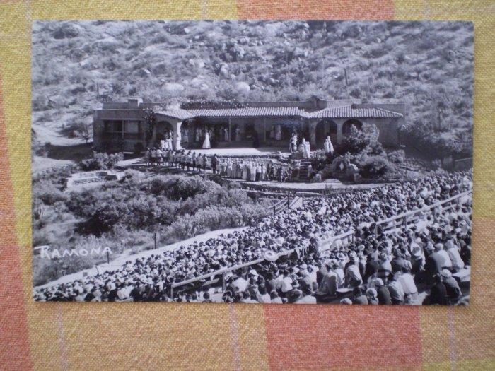 Vintage Postcard RAMONA BOWL rppc CALIFORNIA CROWD