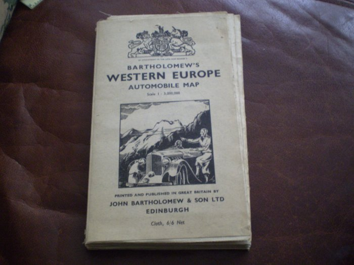 Vintage Bartholomew Western Europe Automobile Map 1:3,000,000 CLOTH