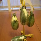 Vintage 4 Corn Salt & Pepper Shakers on Metal Tree Stand Japan Ceramic
