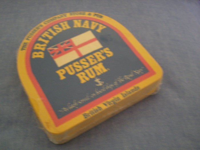 VINTAGE LOT 24 PUSSER'S COMPANY STORE & PUB BRITISH NAVY RUM COASTERS VIRGIN ISLANDS SEALED NEW