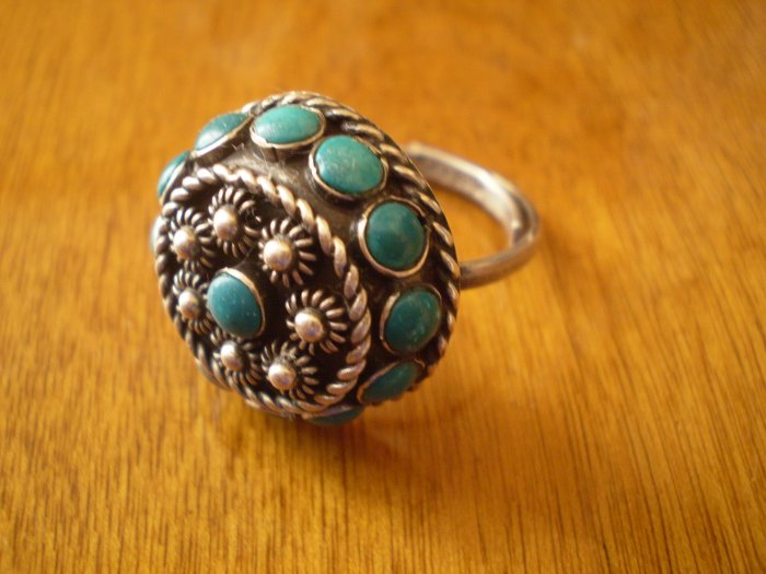 VINTAGE TURQUOISE STERLING SILVER RING ADJUSTABLE EAGLE 2 925 MEXICO