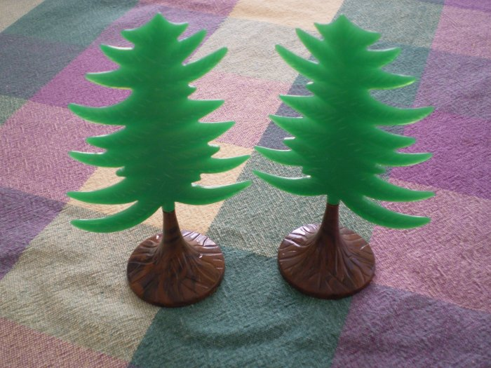 LOT 2 VINTAGE PLASTIC PINE CHRISTMAS TREE CAKE TOPPER DECOR BB