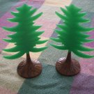 LOT 2 VINTAGE PLASTIC PINE CHRISTMAS TREE CAKE TOPPER DECOR BB