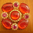 VINTAGE LARGE RED RHINESTONE BROOCH PIN BROACH