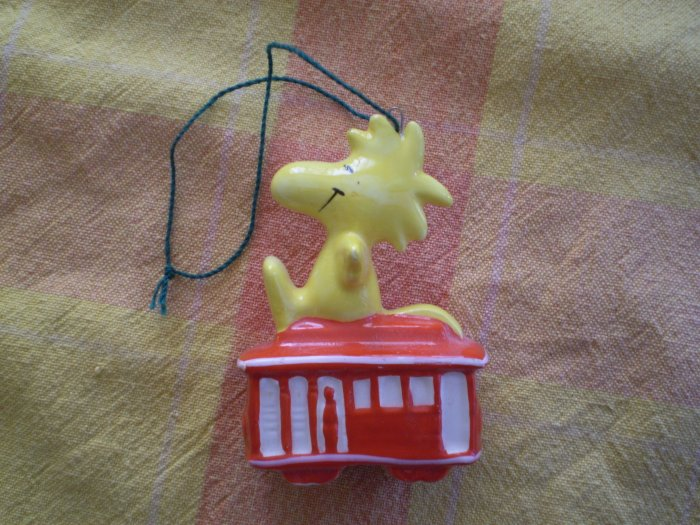 VINTAGE PEANUTS WOODSTOCK ON TRAIN TRAM CHRISTMAS ORNAMENT