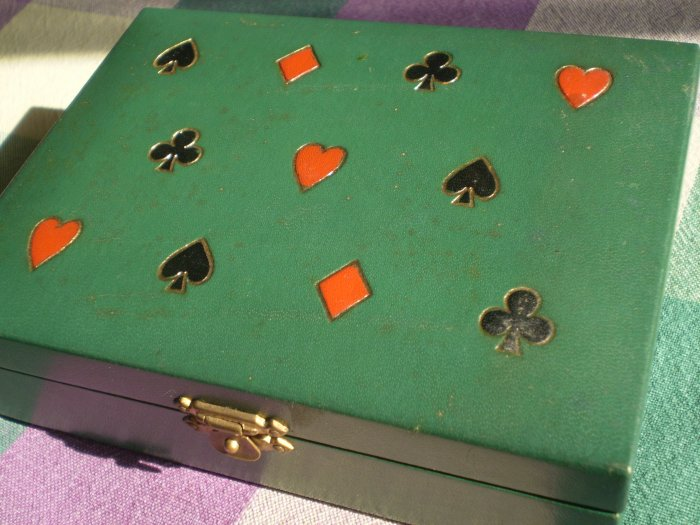 Vintage Playing Card Case Green Leather Atlantida Box