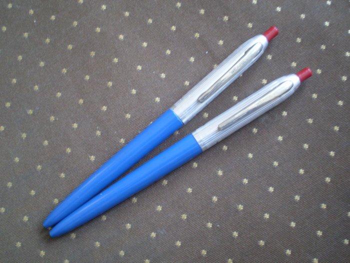 Lot 2 Vintage Wearever Ballpoint Pen Ball Point Blue Aluminum