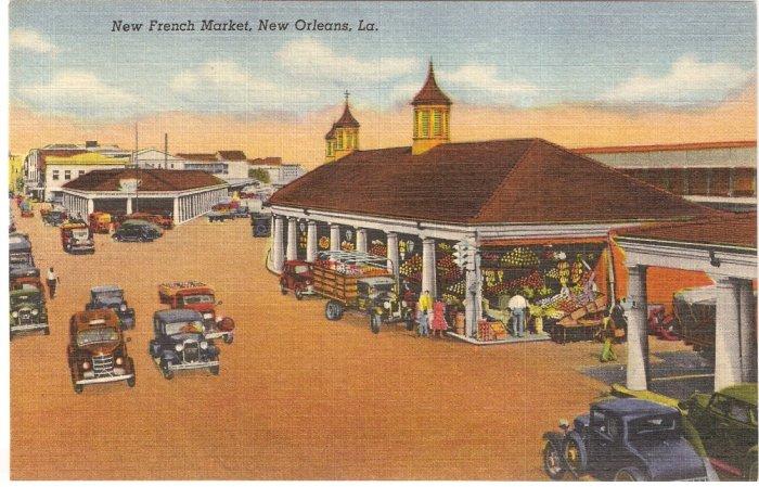 New French Market, New Orleans, LA postcard vintage