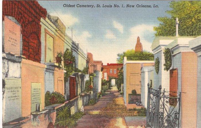 Oldest Cemetery, St Louis No. 1, New Orleans, LA postcard vintage